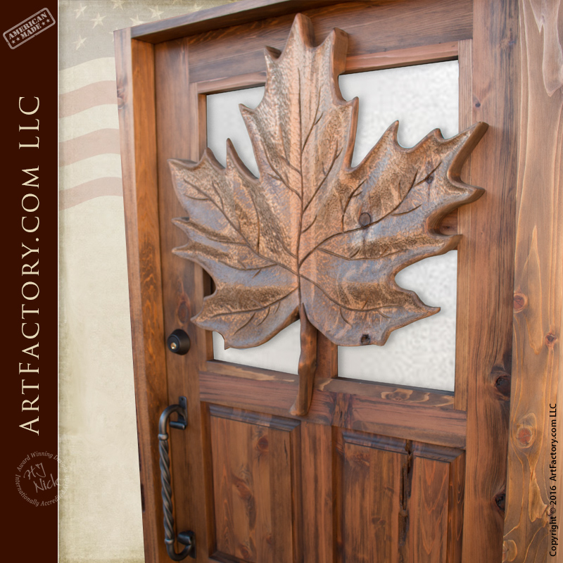 Carved Maple Leaf Theme Wood Door Custom Solid Wood Front
