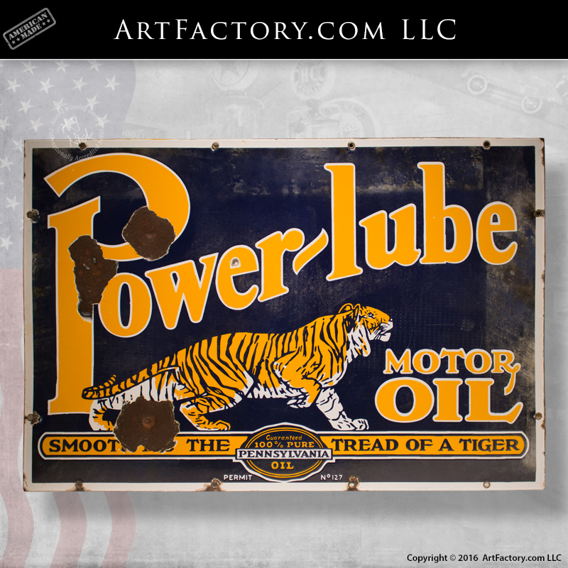 Power Lube Motor Oil Tiger Sign Rare Original Vintage