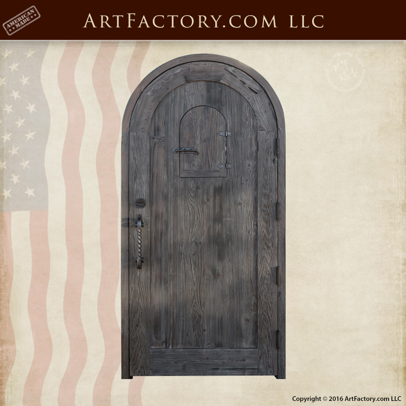 Wooden Arched Custom Entrance Door: With Iron Speakeasy Grill