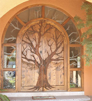 Custom carved wood doors finishes