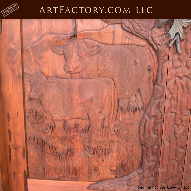 Rustic Hand Carved Doors Log Cabin Style Entrance With