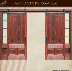 Custom Sliding Wood Doors With Glass Sidelights