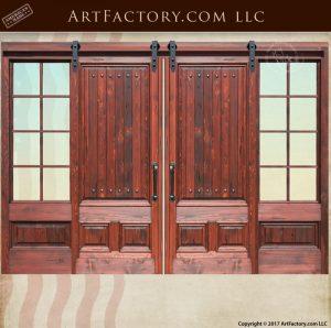 Custom Sliding Wood Doors With 8 Panel Glass Sidelights