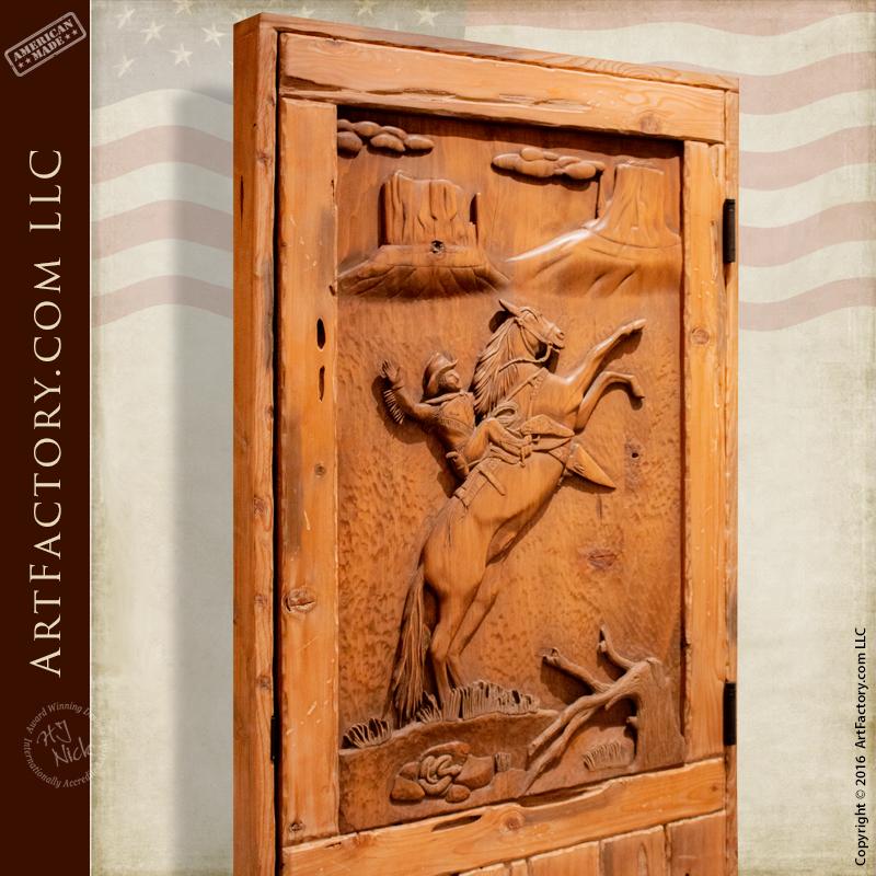 cowboy hand carved door