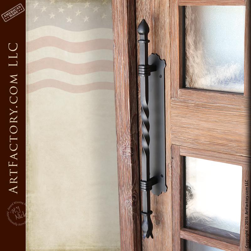 eyebrow arch glass panel door with torch inspired door pull
