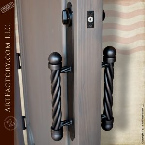 custom arched front door with ball and twist door pull