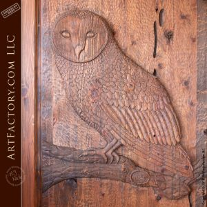 owl carved front door