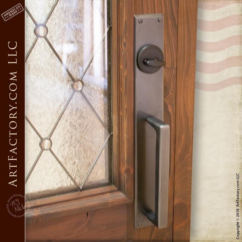 Semi-Arch Leaded Glass panel door with custom contemporary door pulls