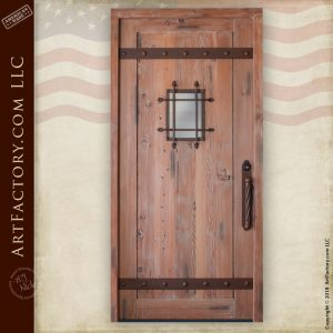 medieval fortress door with portal window security grill