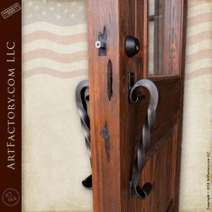 handmade craftsman door with twisted S iron door pull