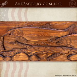Hand Carved Salmon Fireplace Mantel