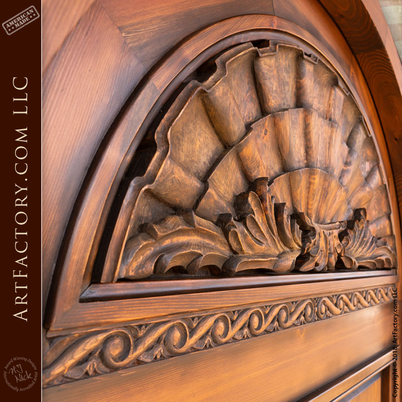 Lion Head Carved Front Door Fine Art Quality Arched Entrance