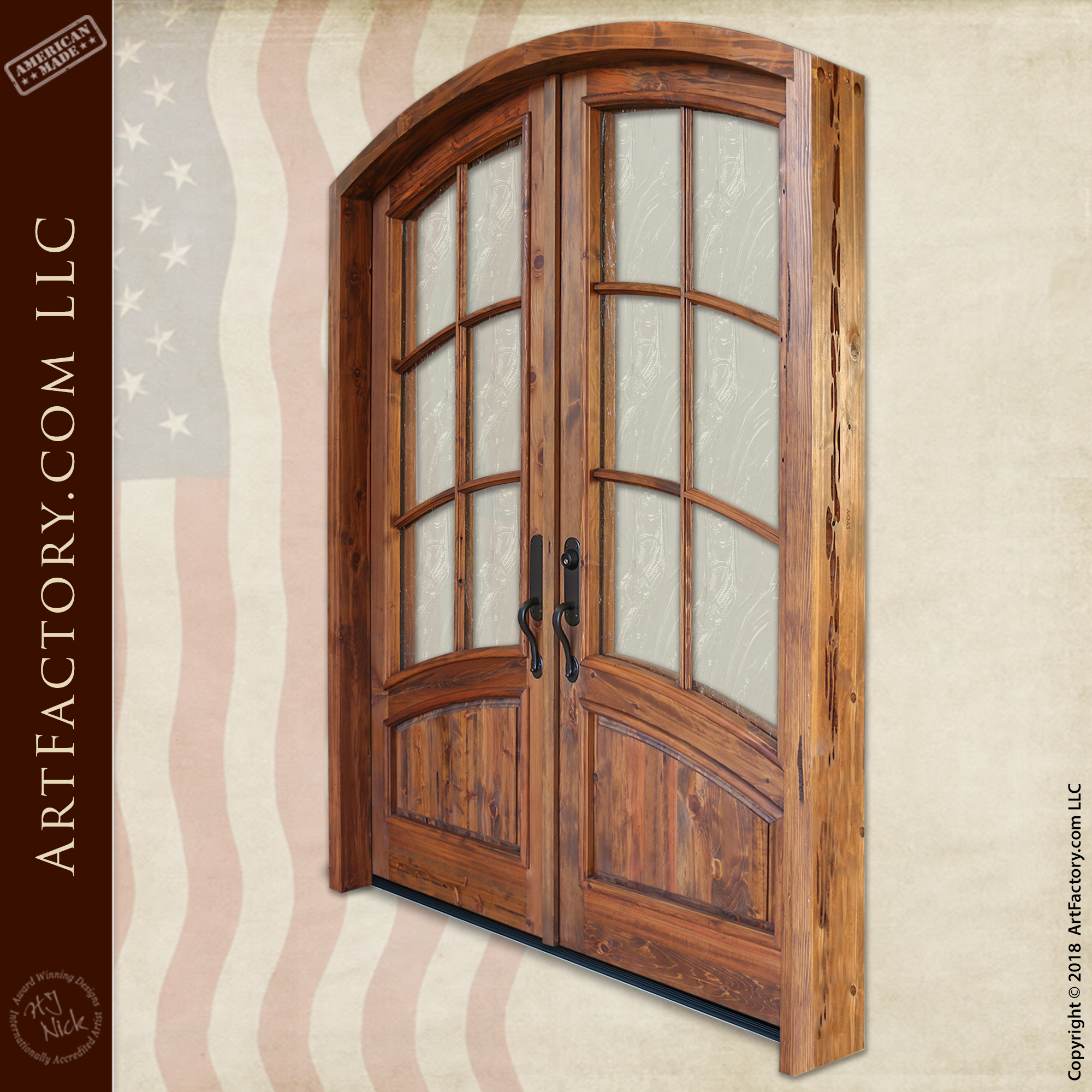 Hand Carved Arched Double Door