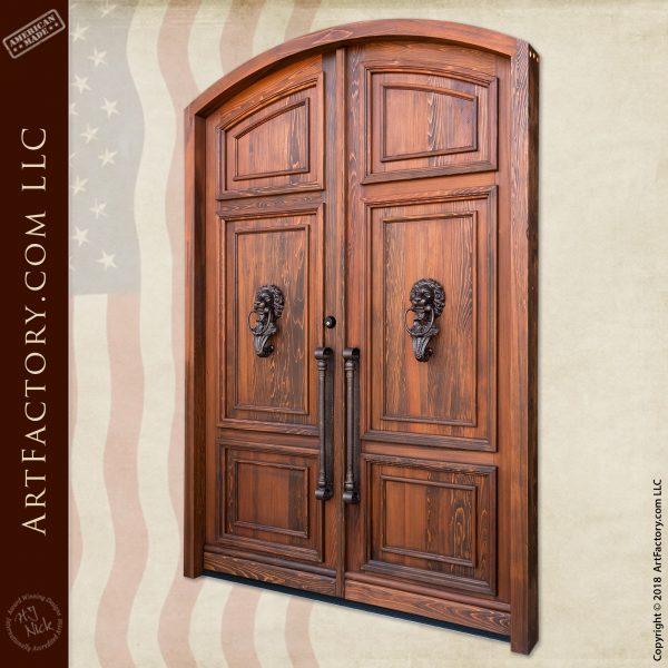 Hand Carved Lion Knocker Arch Door
