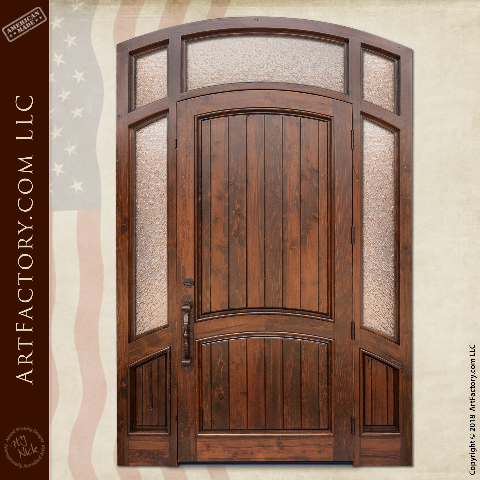 Semi Arched Front Door With Custom Transom And Sidelights