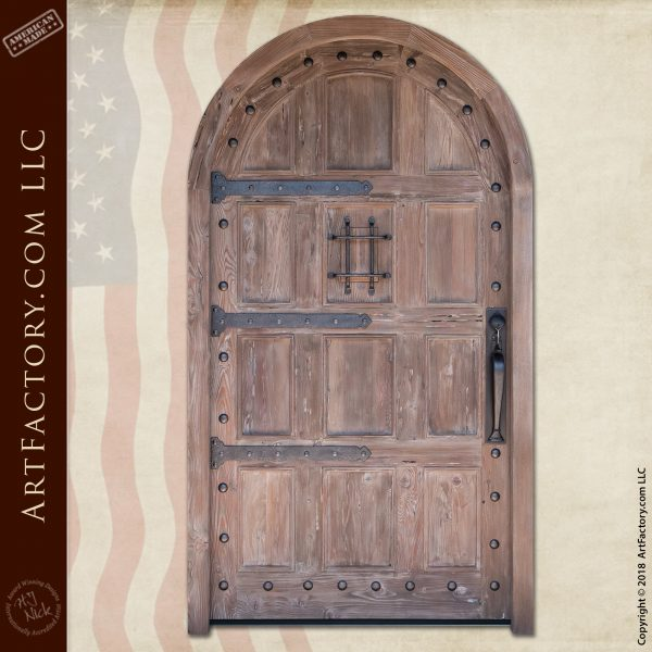 weathered wood arched door