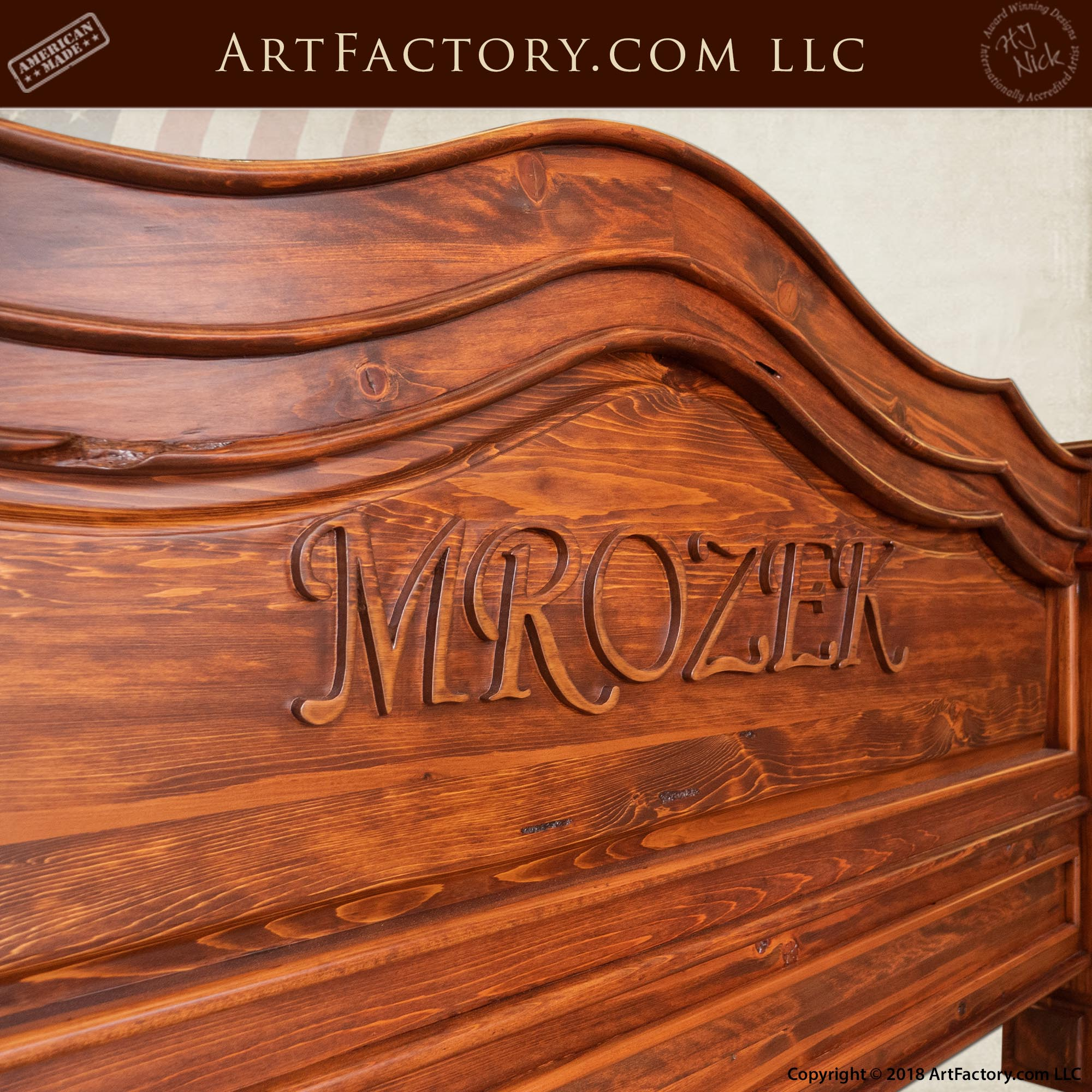 Hand Carved Personalized Bed Frame