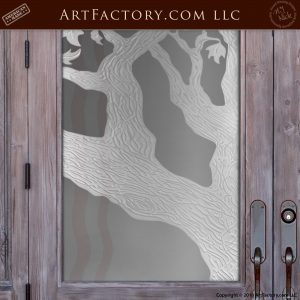 Arched Double Doors With Tree Designed Etched Glass