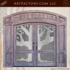 Sand Blasted Arched Double Doors With Tree Designed Etched Glass