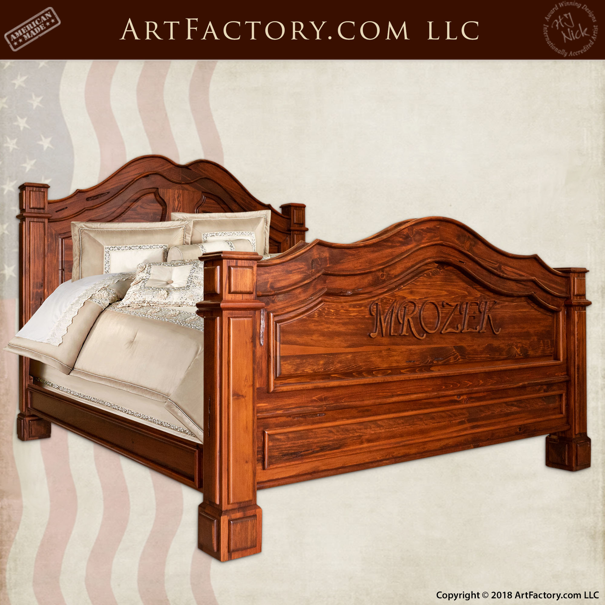 Hand Carved Personalized Bed