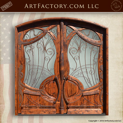 wood iron and glass doors