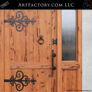 decorative iron strap hinges on door