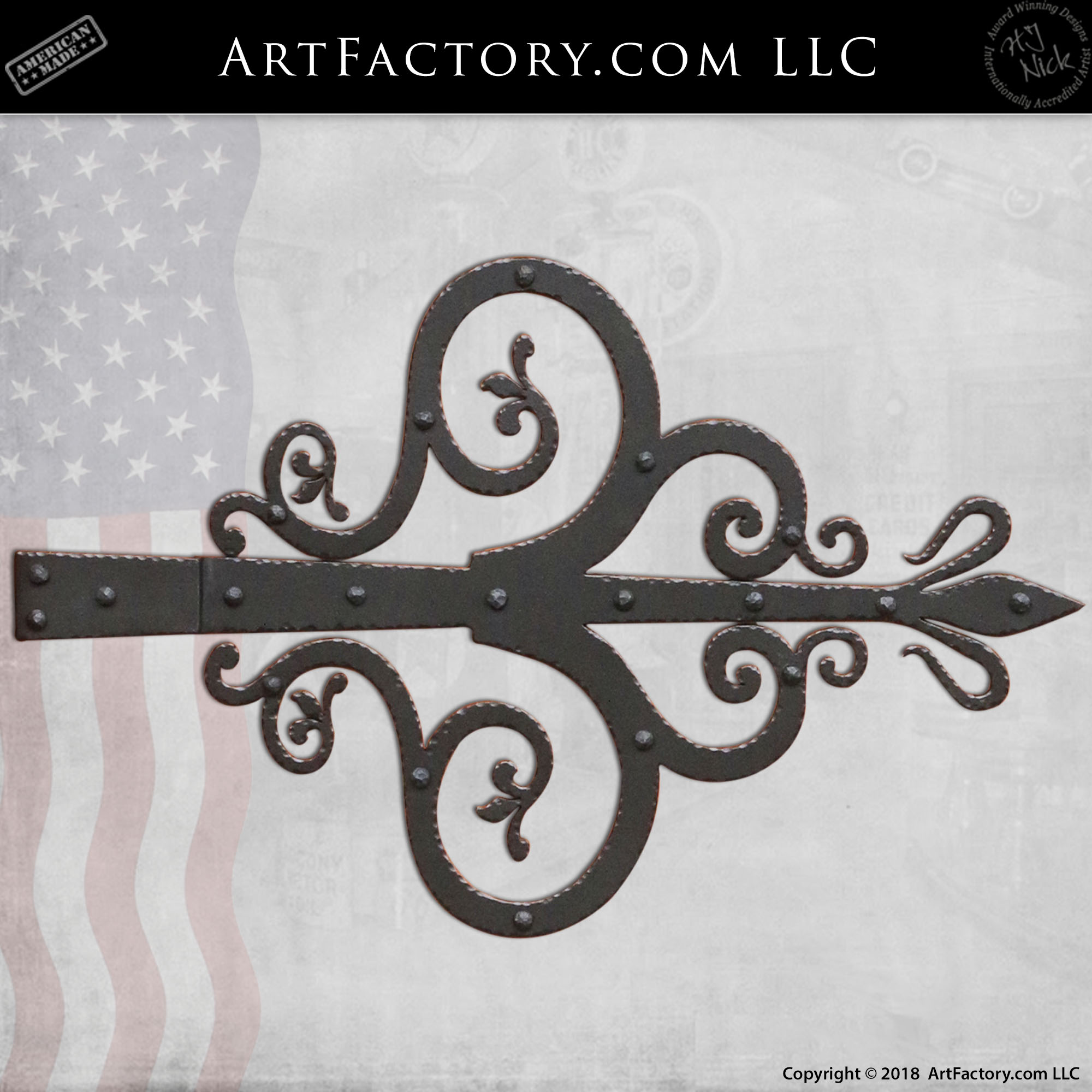 fine art decorative strap hinge