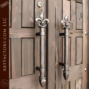 Gothic Style Double Doors with Fleur de Lis Pulls
