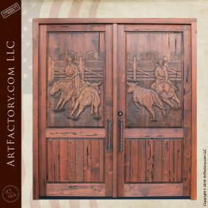 Hand Carved Rodeo Themed Cowboy Double Doors
