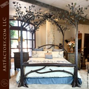 Custom Birds Nest Bed: Blacksmith Forged Wrought Iron Fine Art Furniture