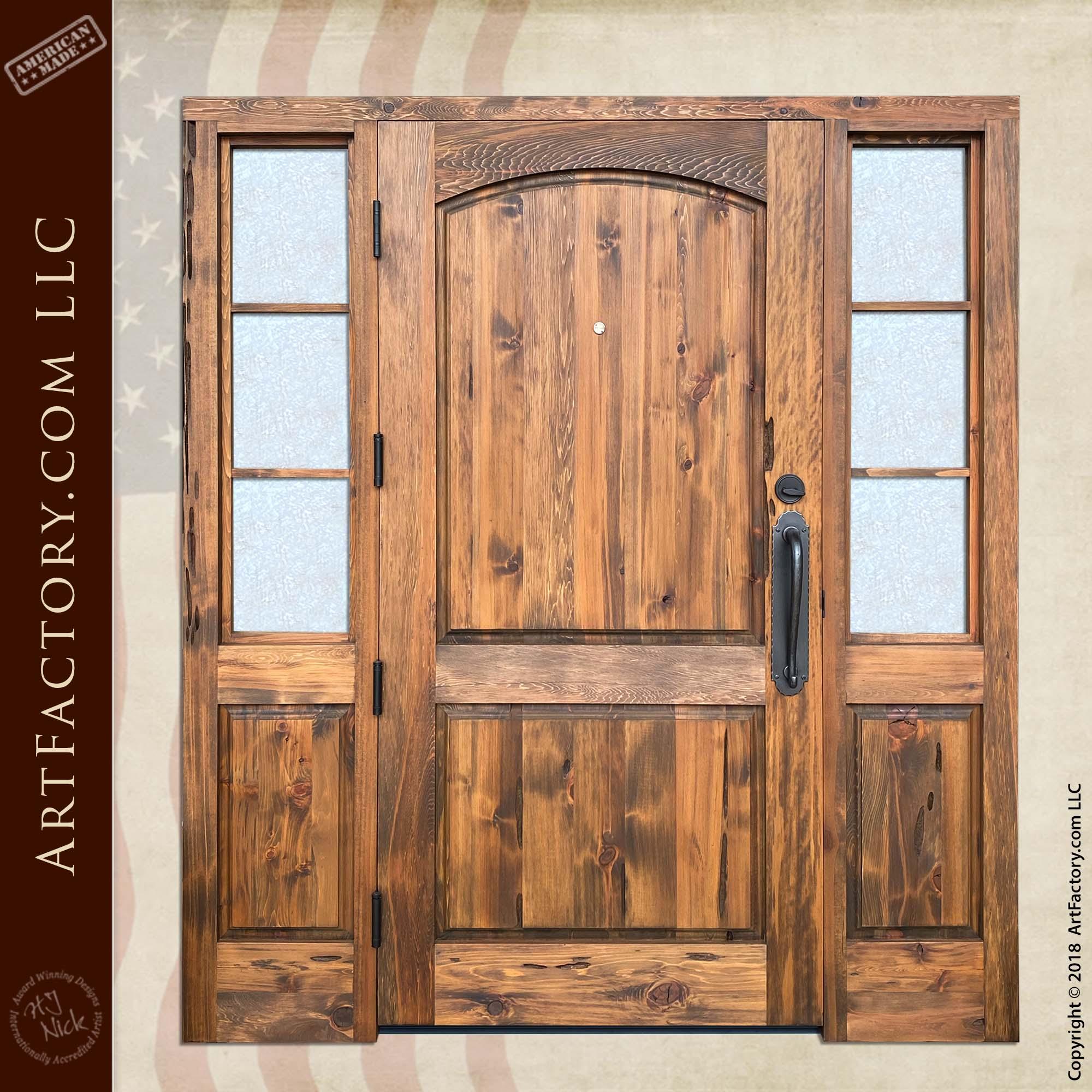 Custom Door with Glacier Glass Sidelights