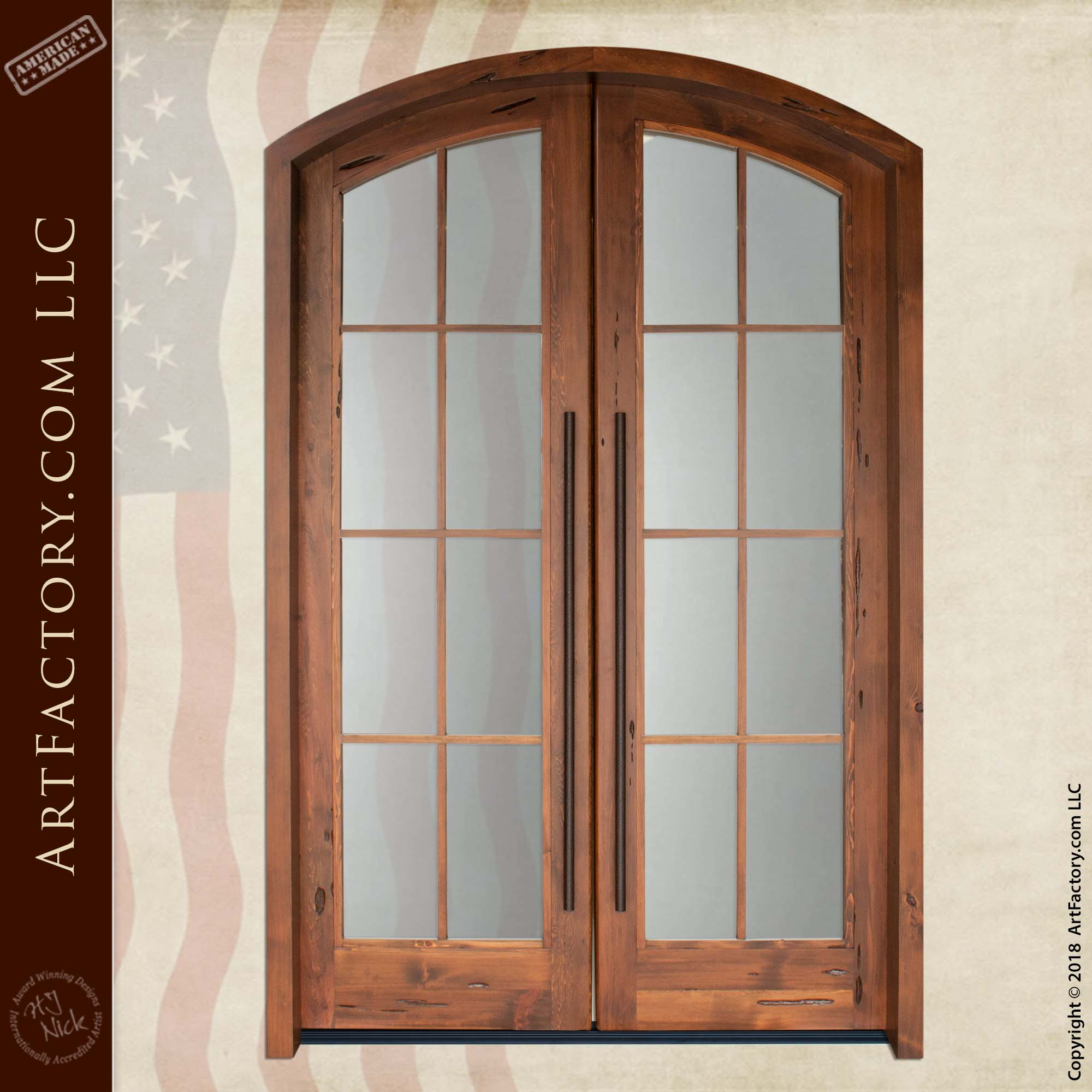 Custom Arch Door with Large Wrought Iron Pulls