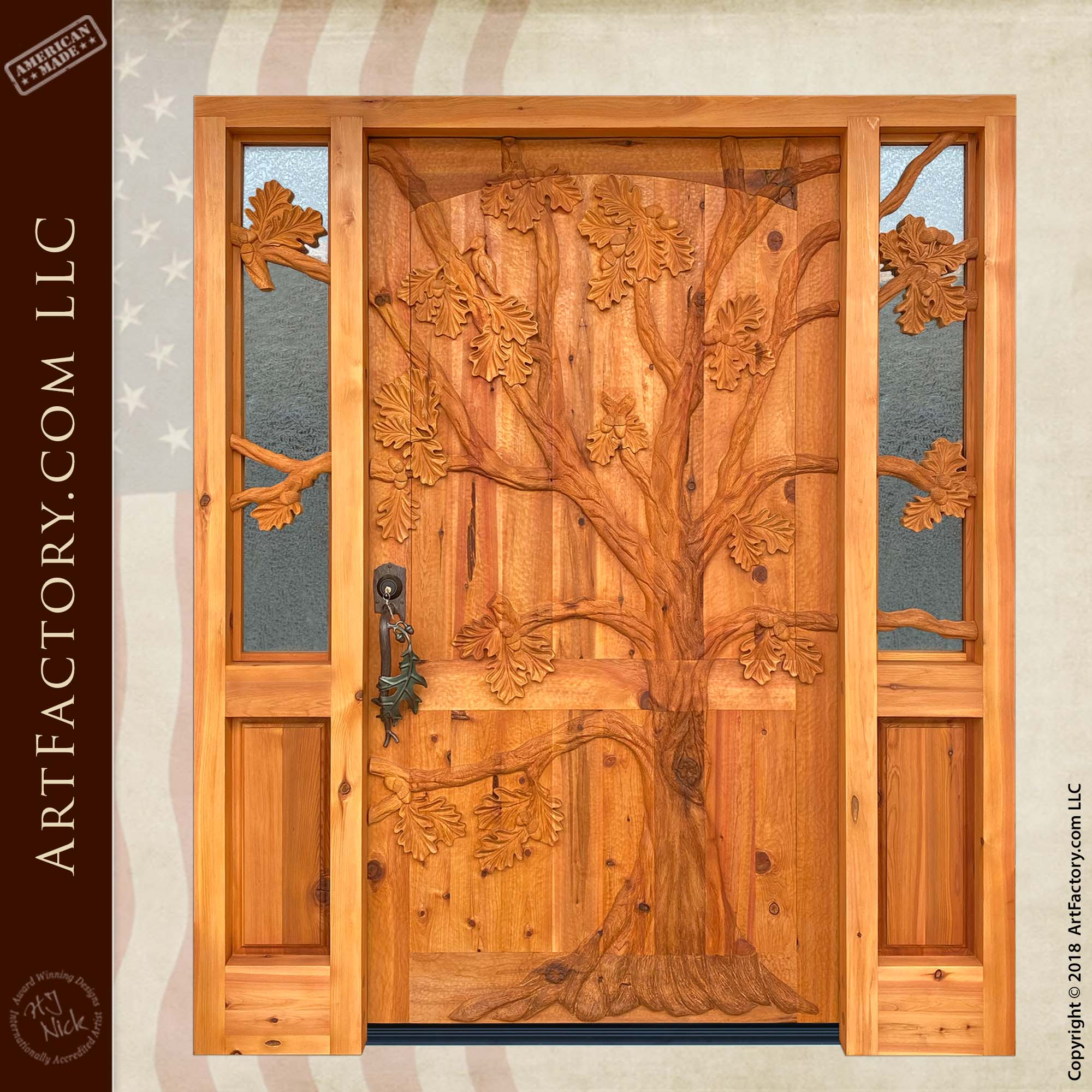 Oak Tree Carved Front Door