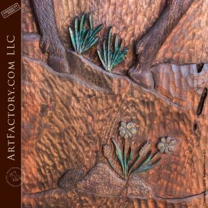 high relief wood carvings close up