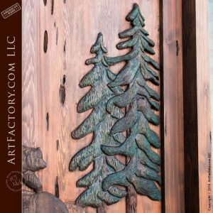 hand carved pine trees