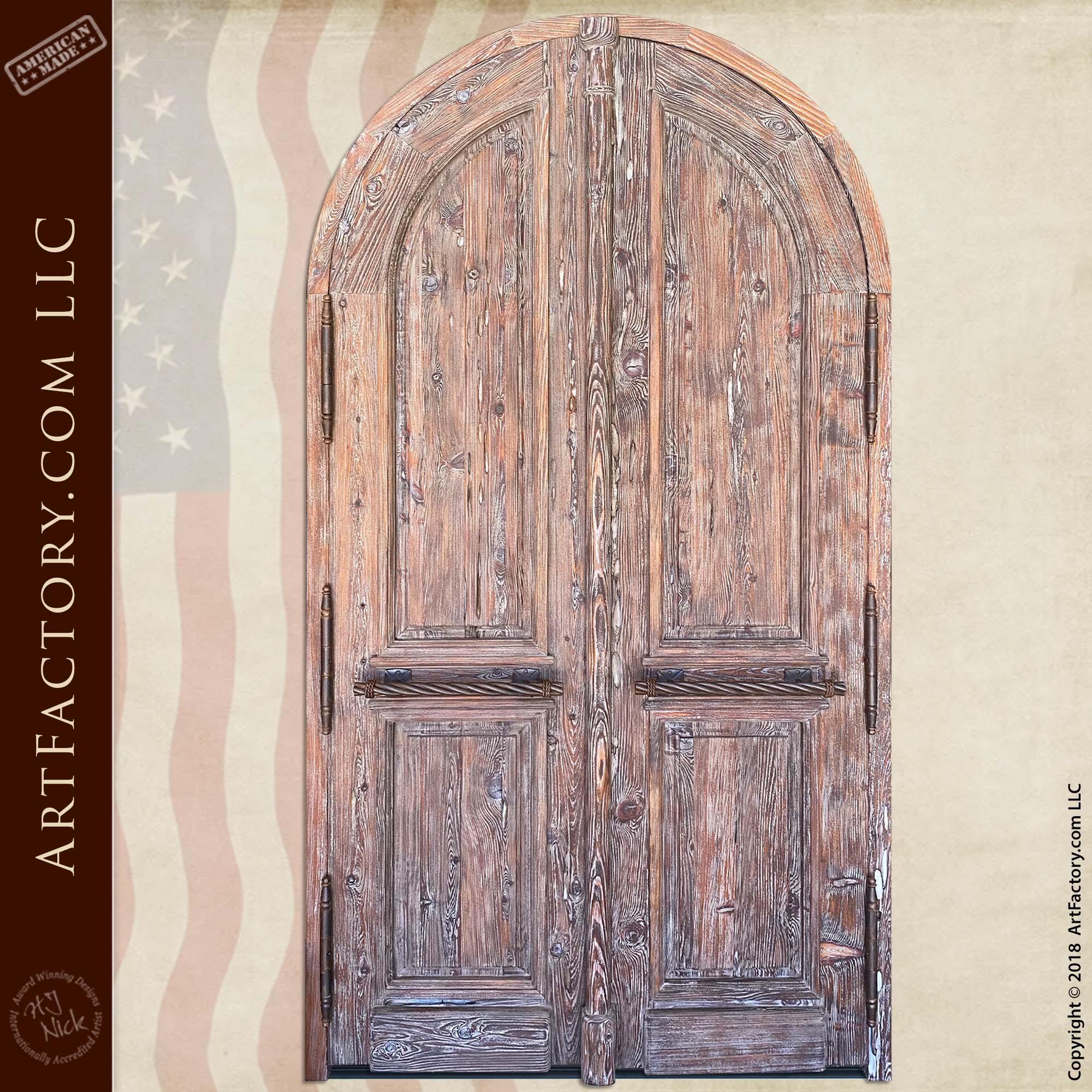 Full Arch Solid Wood Double Doors