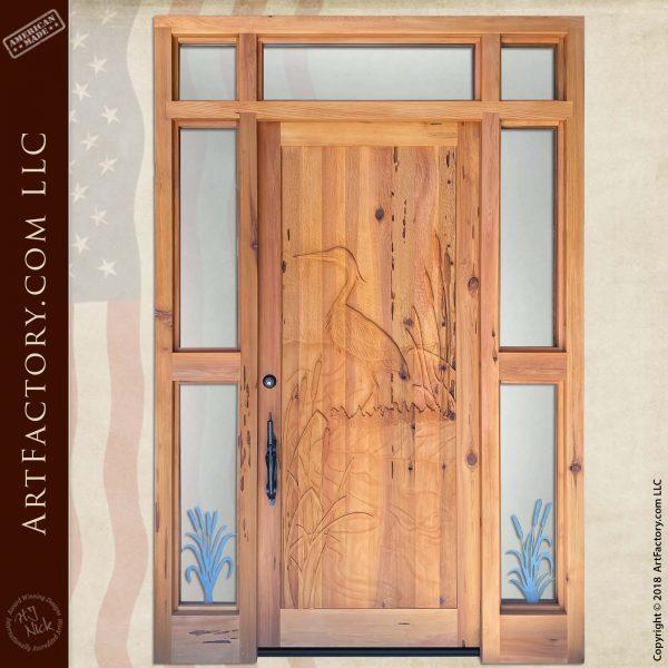 custom heron carved door