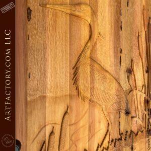 heron wood carving close up