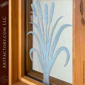 cattail etched glass sidelight