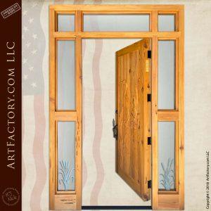 custom heron carved door open position
