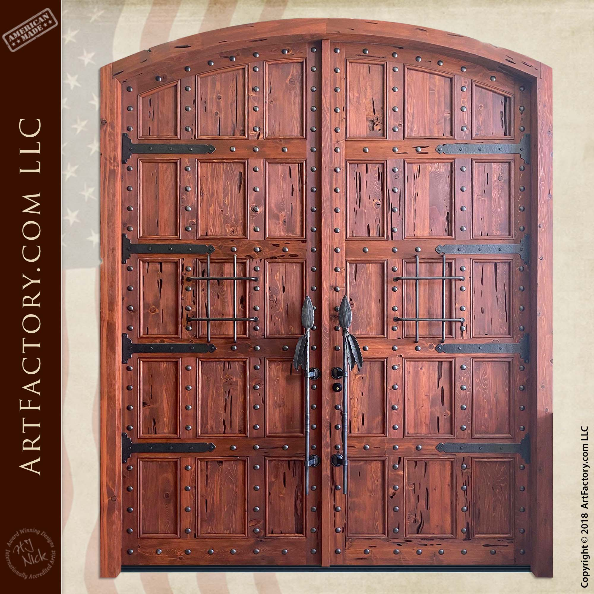 Custom Lodge Entrance Doors: Hand-Forged Iron Spear Door Pulls