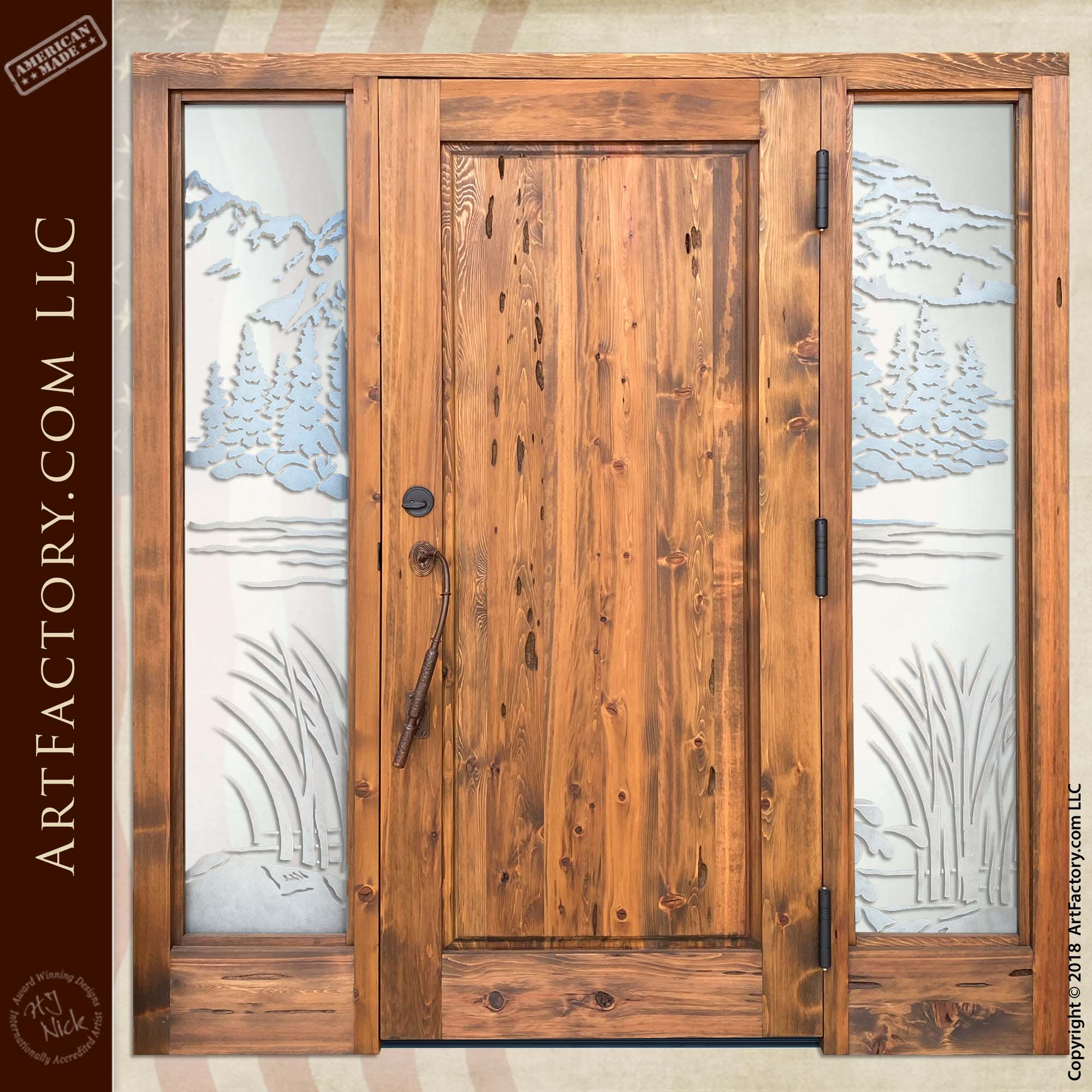 Bass Fishing Carved Door back