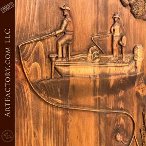 hand carved fishing boat