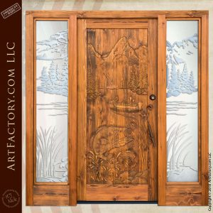 Bass Fishing Carved Door