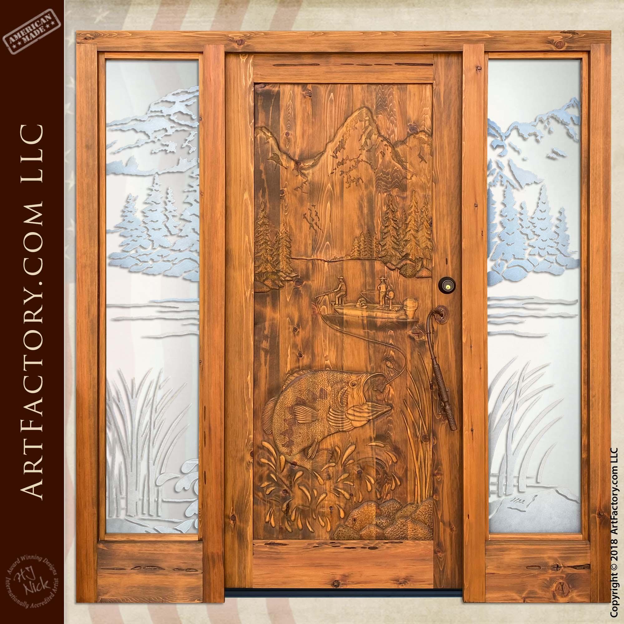 Bass Fishing Carved Door