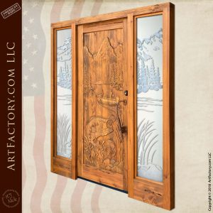 Bass Fishing Carved Door angle