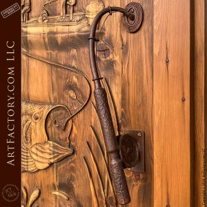 hand forged fishing reel door pull