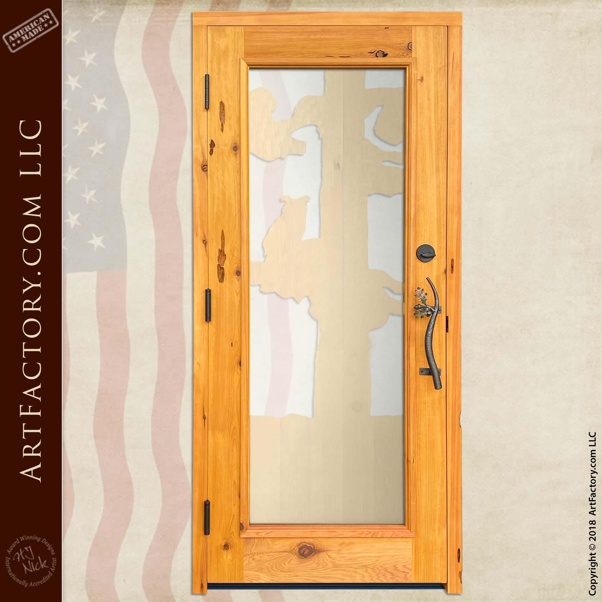 log cabin entry door back