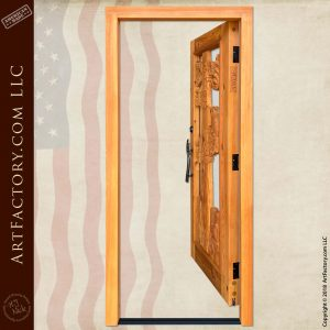 log cabin entry door open position
