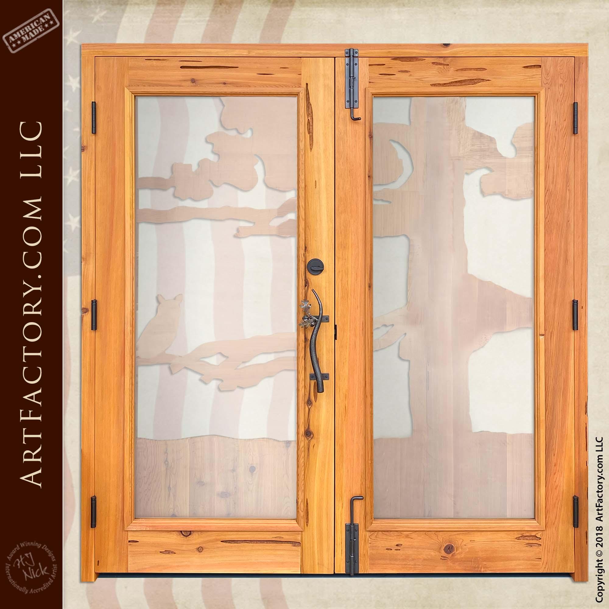 Log Cabin Entrance Double Doors back